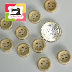 Botões de quatro furos em Beje