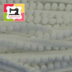 Fita mini-pompons branco